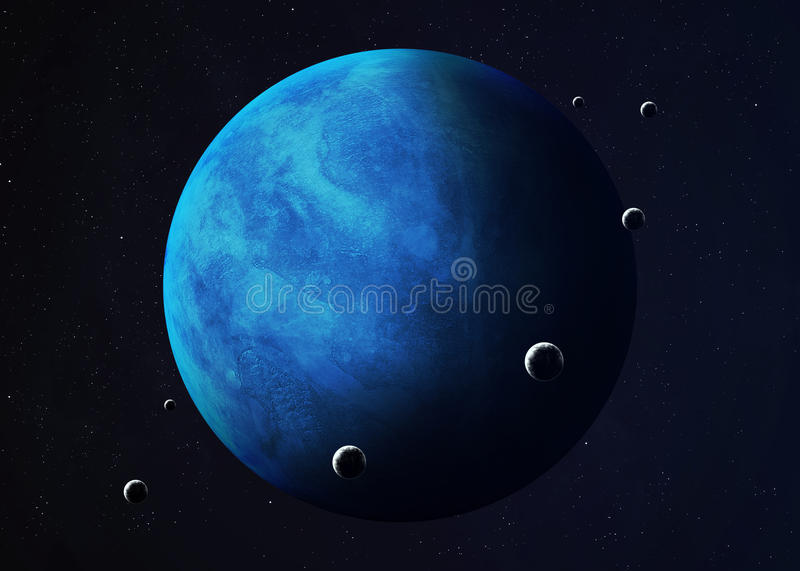 Shot of Neptune taken from open space. Collage stock photography