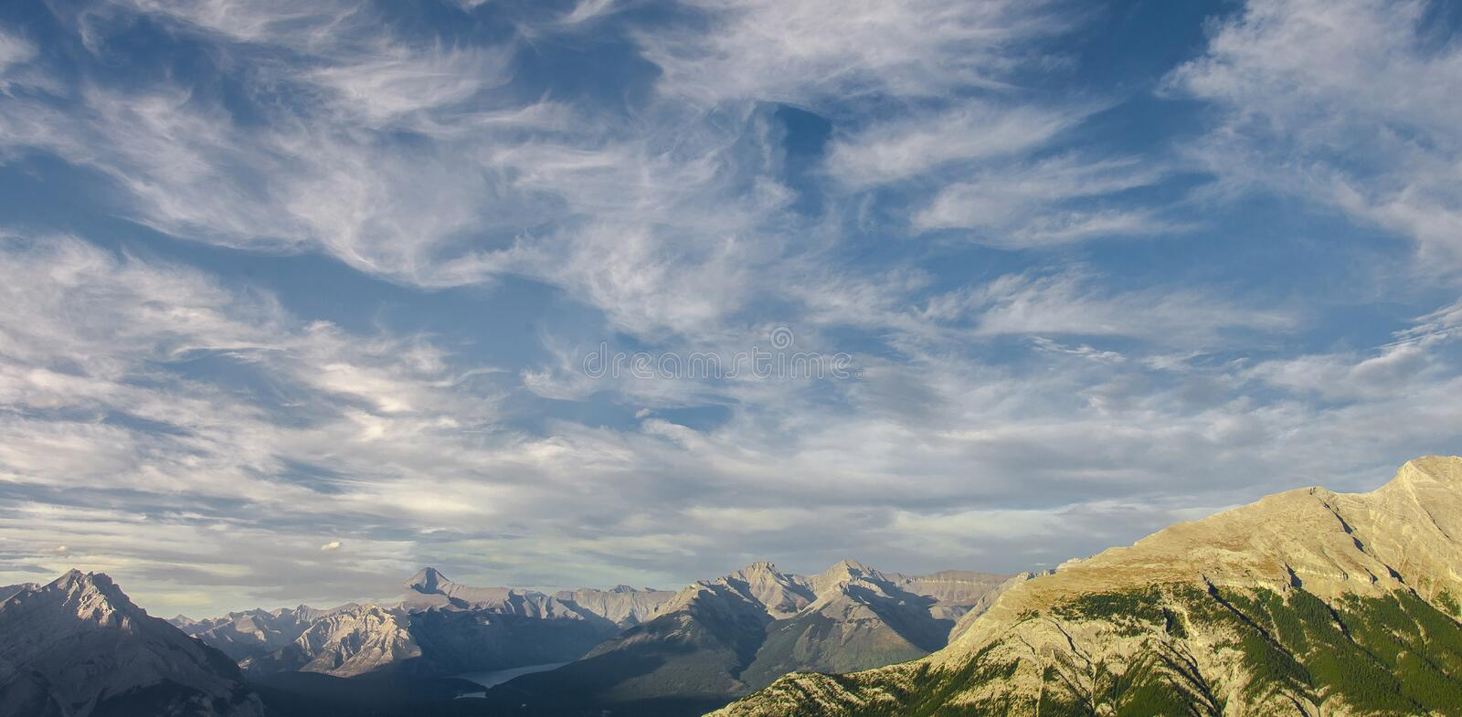 Shot of never ending mountain range next to the Banff Gondola was taken during my first trip to the Canadian Rockies shortly stock photo