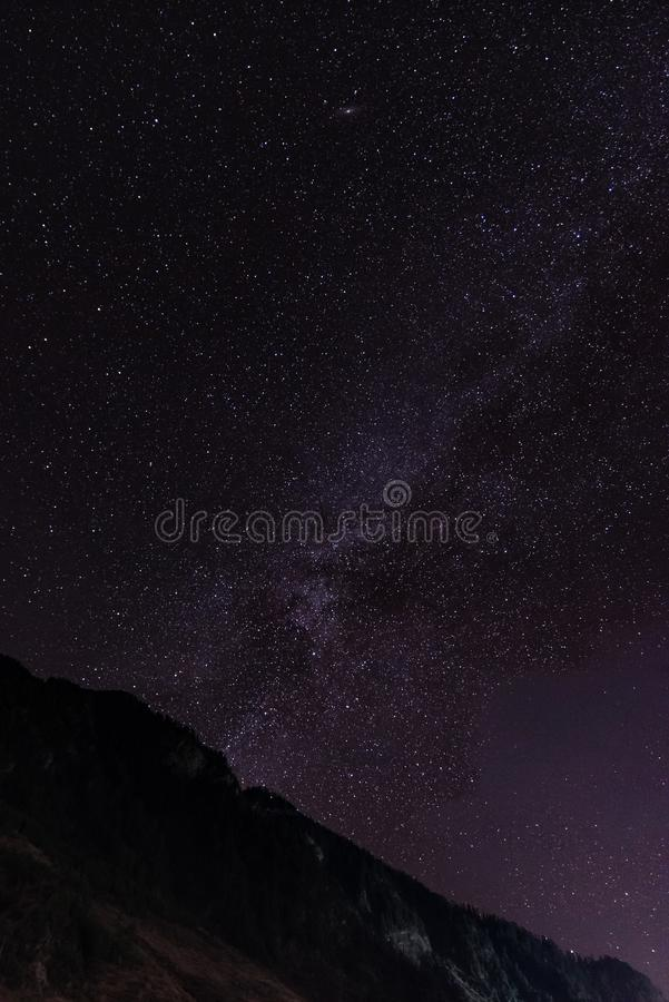 Milky Way and the stars in night sky royalty free stock image