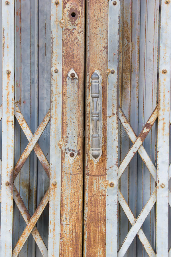 The shot of old-age folding door. stock photography