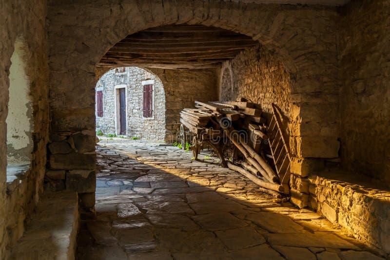 Passageway in old Mediterranean town Draguc - Istria, Croatia. Shot of passageway in old Mediterranean town Draguc - Istria, Croatia stock images