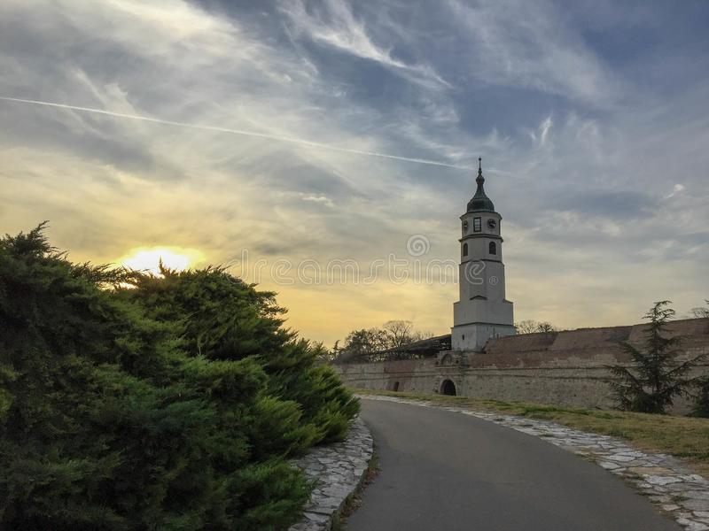 Sahat kula Clock tower in Kalemegdan fortress in Belgrade Serbia. A shot of the Sahat kula Clock tower in Kalemegdan fortress in Belgrade Serbia royalty free stock photos
