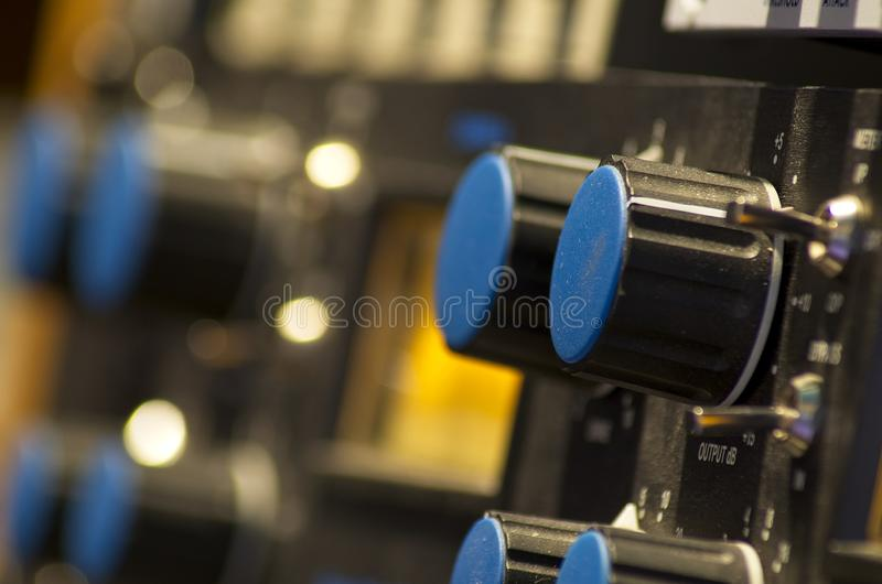 Shot session to audio devices. Close up shot session to audio devices royalty free stock photos