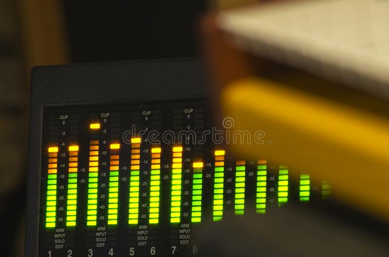 Shot session to audio devices. Close up shot session to audio devices stock photos
