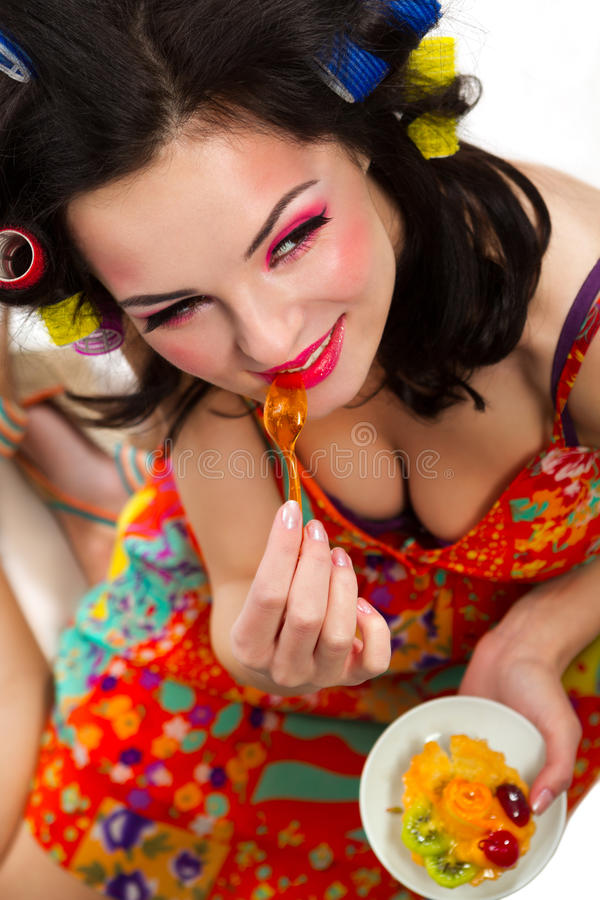 Glamour Girls With A Cake Royalty Free Stock Image