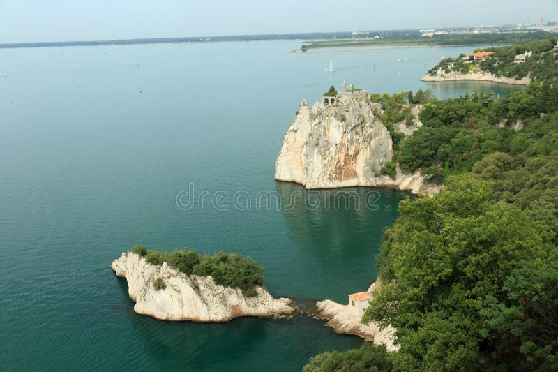 The landscape of the coast from Duino Castle in Italy stock image