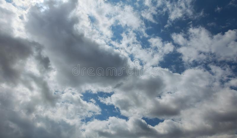 Shot of blue sky with cloud closeup stock images