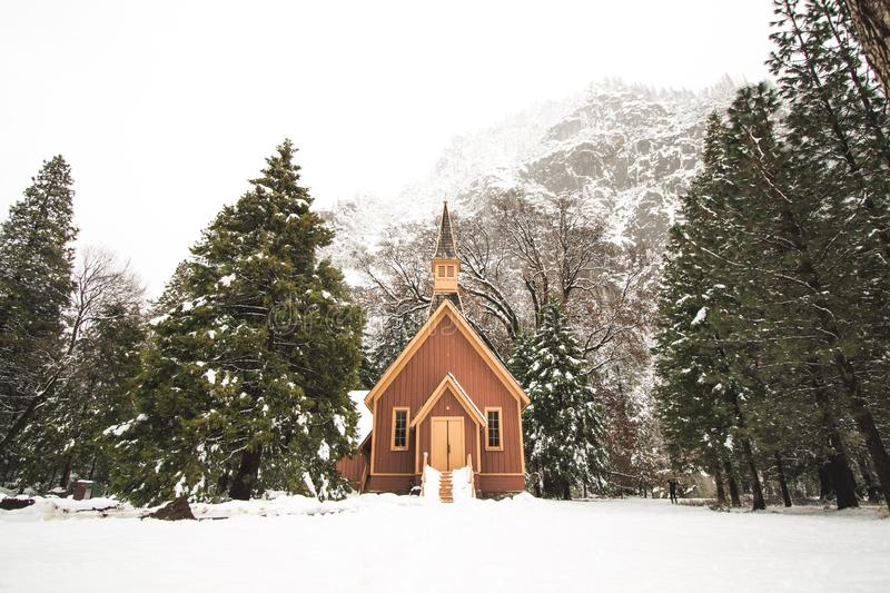Shot of a small wooden cabin surrounded by spruces filled with snow near mountains stock photos