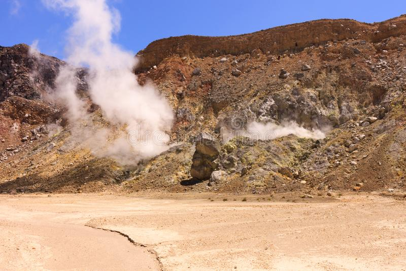 Smoke venting as seen in the volcanic crater of gunung Inerie, Flores, Indonesia stock photos