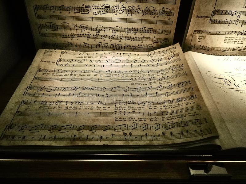 Shot of a staff of a musical composition by Mozart royalty free stock photography
