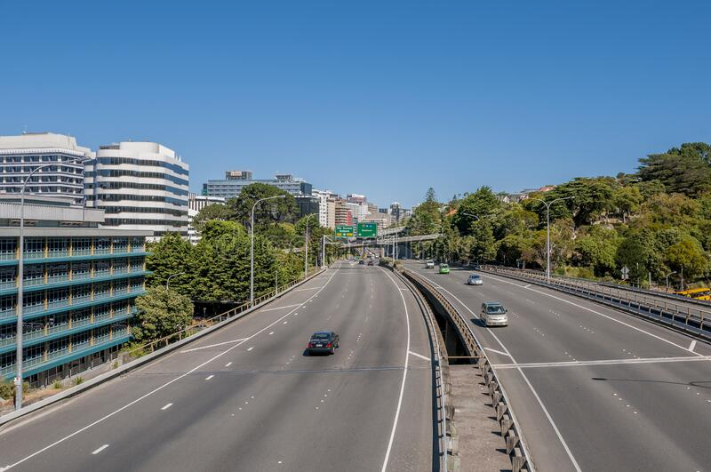 Shot of  State Highway one in Wellington, New Zealand, as the motorway reaches the city center. A shot of  State Highway one in Wellington, New Zealand, as the royalty free stock image