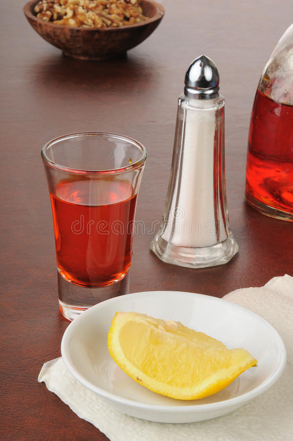 Download Shot of tequila with lemon stock image. Image of golden - 25961847