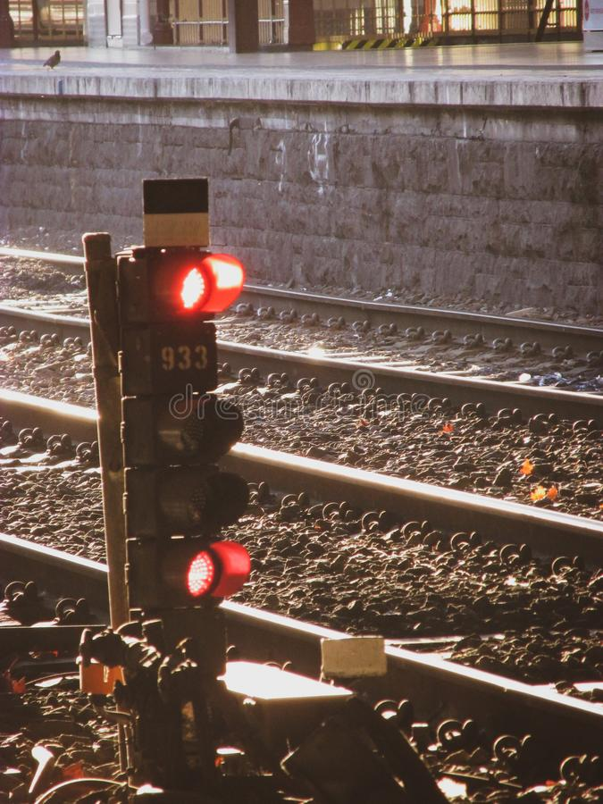 A shot of train traffic light controller royalty free stock images