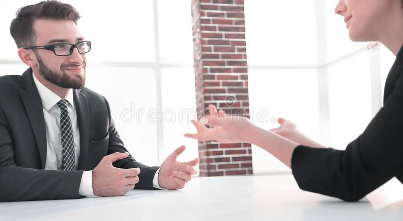 Business people Having Meeting Around Table In Modern Office royalty free stock photo