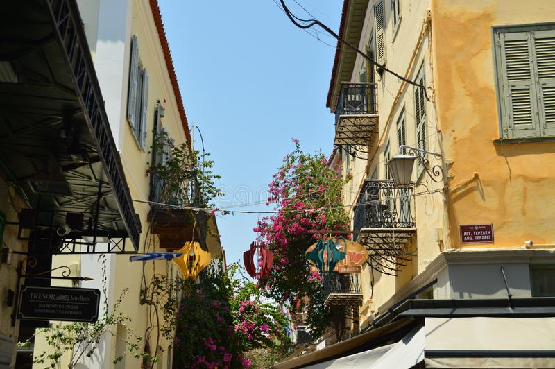 Shot Of The Upper Facades Of The Beautiful Nauplion Buildings. Architecture, Travel, Landscapes, Cruises. stock photo