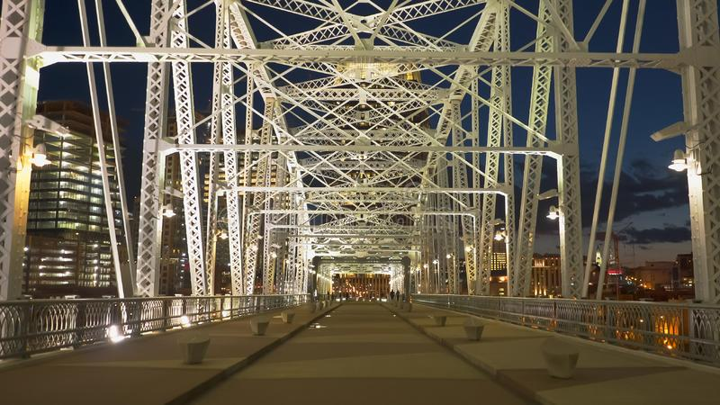 Shot walking across shelby st bridge in nashville, tennesse stock photo