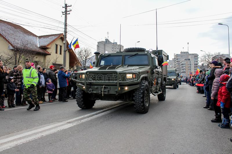 Romanian National Day military parade army vehicule. The shot was taken on 01 December 2016 in the city Alba Iulia on Romanian National Day at the military royalty free stock photo