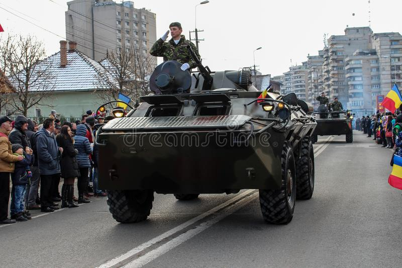 Romanian National Day military parade army vehicule. The shot was taken on 01 December 2016 in the city Alba Iulia on Romanian National Day at the military royalty free stock images