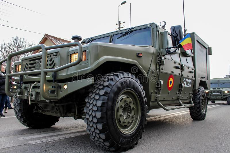 Romanian National Day military parade army vehicule. The shot was taken on 01 December 2016 in the city Alba Iulia on Romanian National Day at the military stock image