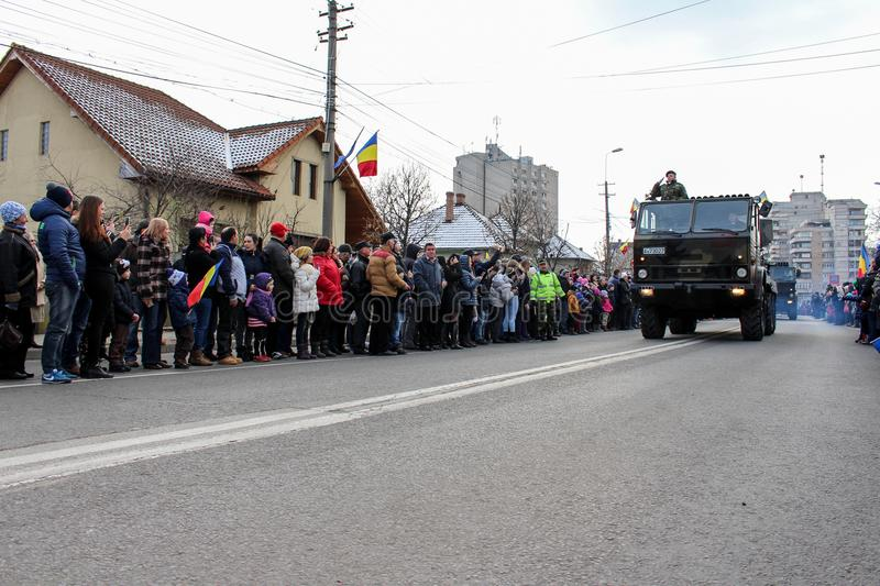 Romanian National Day military parade army vehicule. The shot was taken on 01 December 2016 in the city Alba Iulia on Romanian National Day at the military stock photography