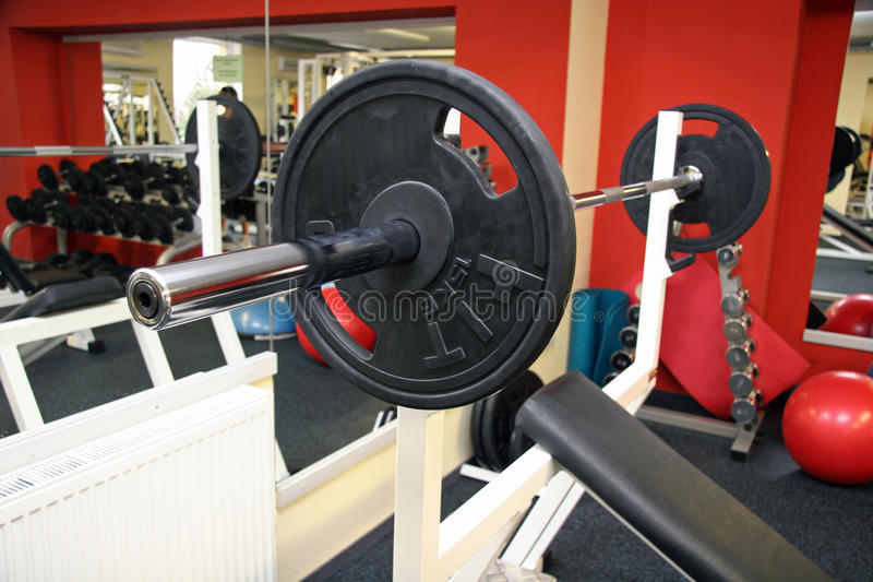 Shot of a weight training equipment. Interior stock image