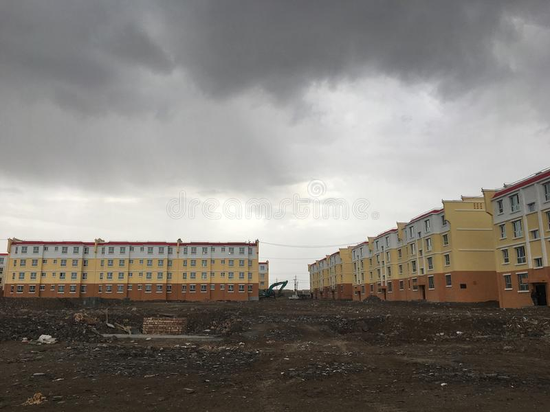 Relocation residential buildings in China. Shot in Xinjiang Province, China. Relocation residential buildings for uyhgur ethnic group royalty free stock photography