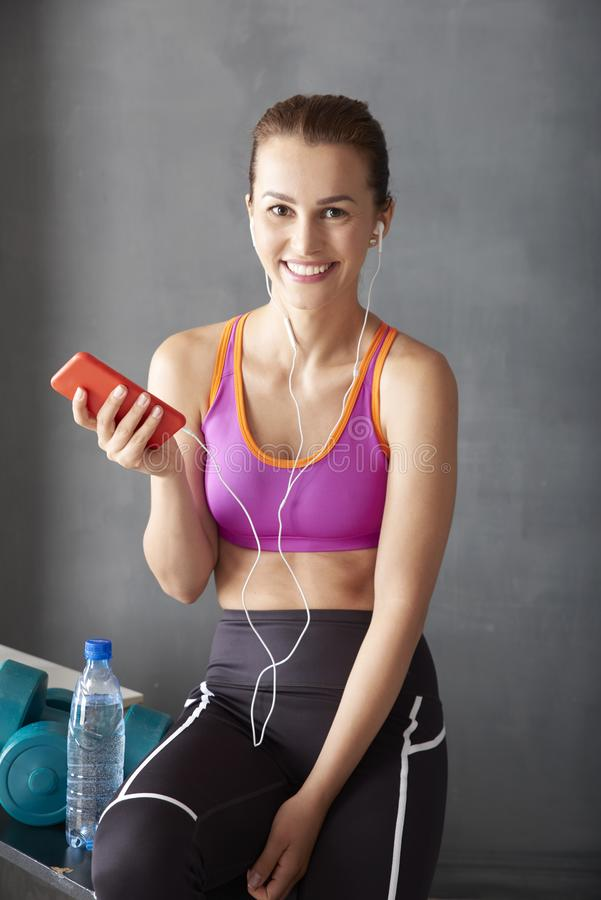 Woman after workout royalty free stock photos