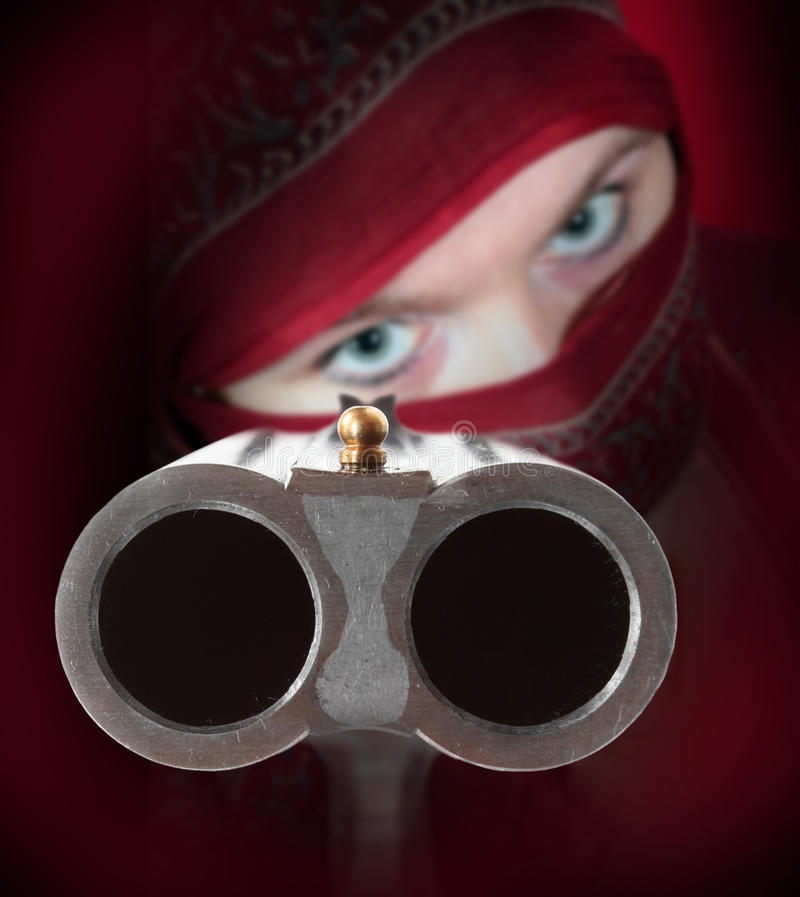 The Shotgun aimed at you. stock images