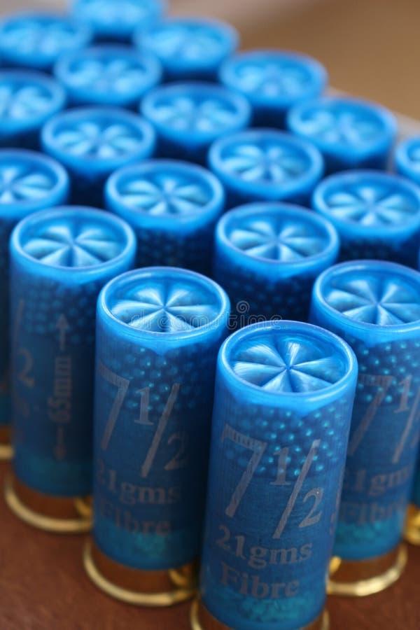Shotgun cartridges. Close up of blue shotgun cartridges stock photo