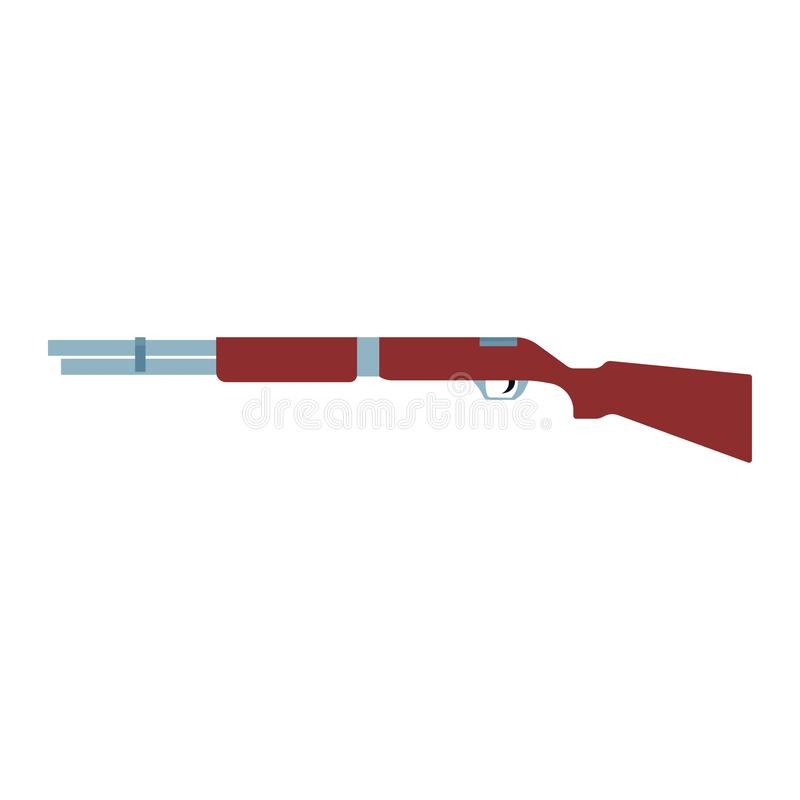 Shotgun illustration rifel vector icon. Hunting gun weapon barrel target. Munition brown simple caliber duck vector illustration