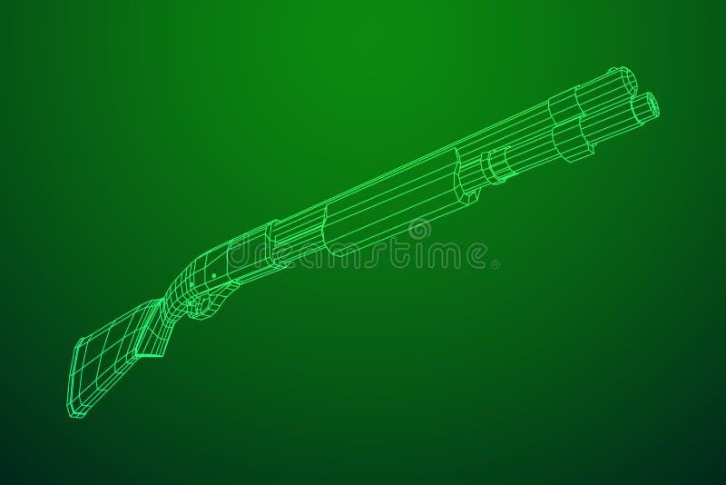 Shotgun rifle hunting carbine. Wireframe low poly mesh vector illustration royalty free illustration
