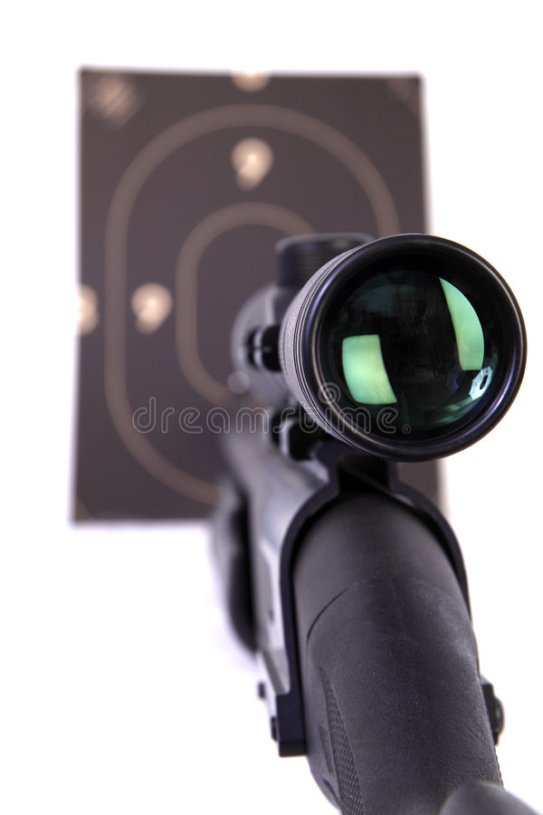 Download Shotgun With A Rifle Scope Pointing A Target Stock Photo - Image: 7947326