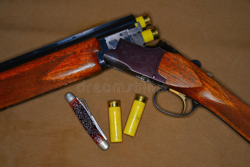 Shotgun and shells royalty free stock image