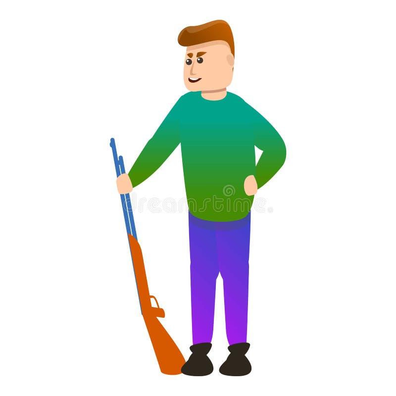 Shotgun shooter icon, cartoon style stock illustration