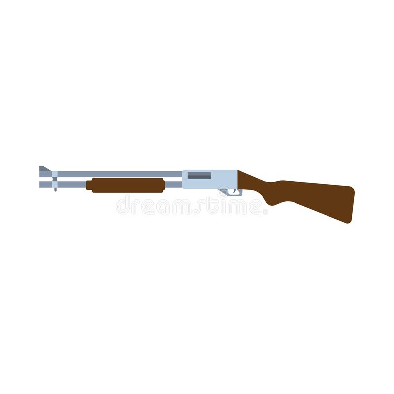 Shotgun side view military war design sign. Army equipment violence shoot gun. Police vector icon rifle isolated royalty free illustration