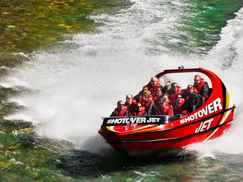 Shotover喷气机小船乘驾,昆斯敦,新西兰 免版税图库摄影