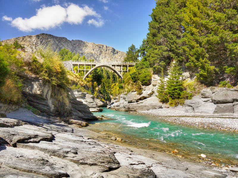 Shotover River, Queenstown, New Zealand. Shotover River at the historical Edith Cavell Bridge, Queenstown, New Zealand stock photography