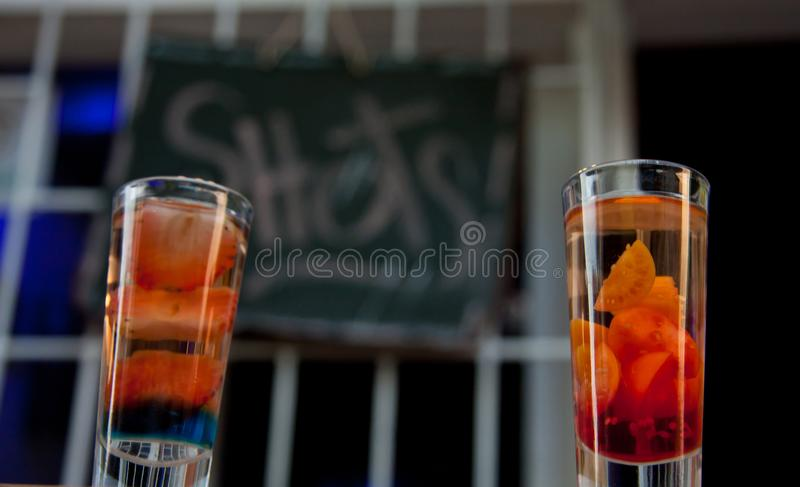 Shots with fruits, Guatape, Colombia, South America royalty free stock photos