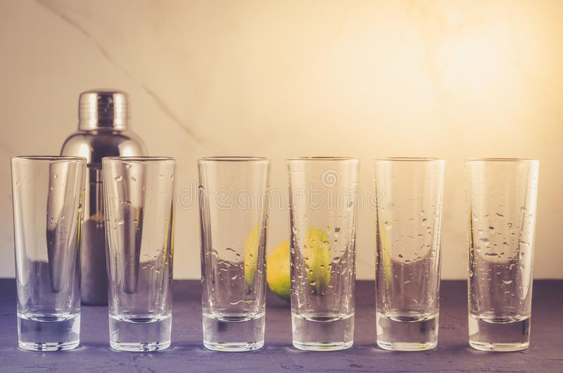 Shots ready for alcohol on bar/shots ready for alcohol on bar. S royalty free stock photo