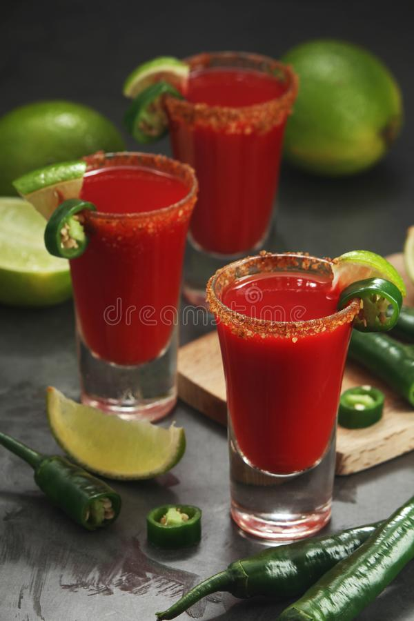 Shots with sangrita - traditional Mexican cocktail royalty free stock photos