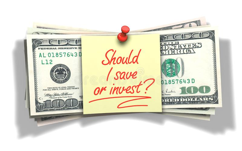 Should I save or invest. `Should I save or invest` with red pen wrote. Behind it a stack of dollar banknotes royalty free stock photography