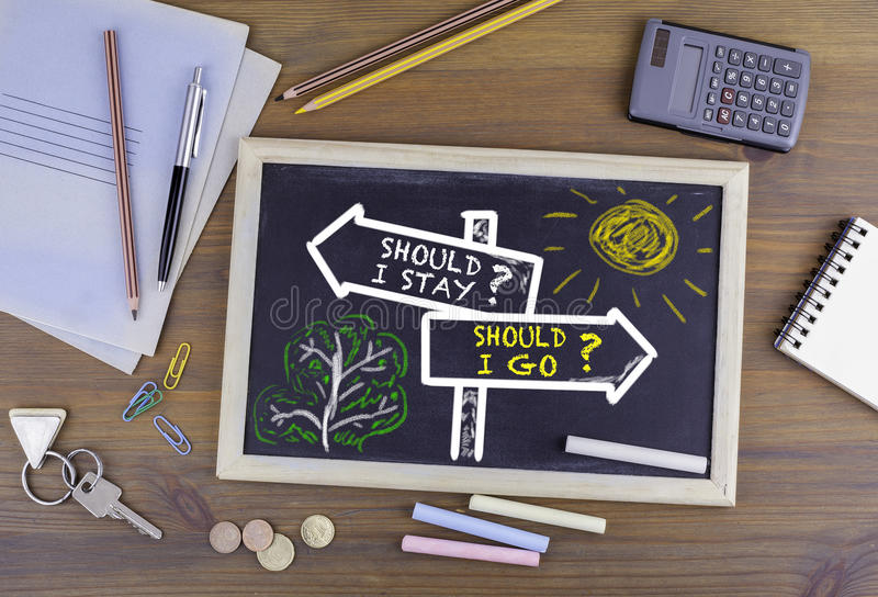 Should I Stay? Should I Go? signpost drawn on a blackboard.  royalty free stock images
