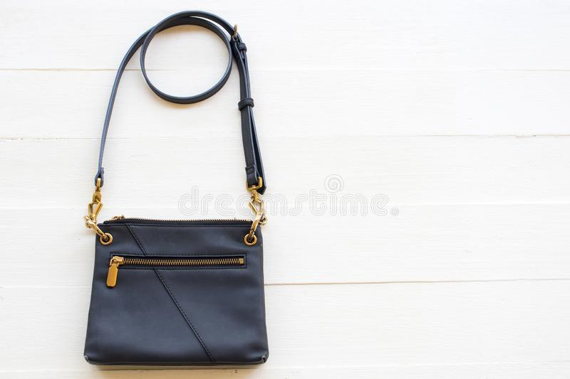 Shoulder bag collection of lifestyle fashion woman arrangement flat lay style stock photography