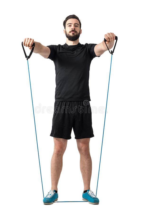 Free Shoulder Exercise With Resistance Rubber Bands Front View Royalty Free Stock Image - 72801536
