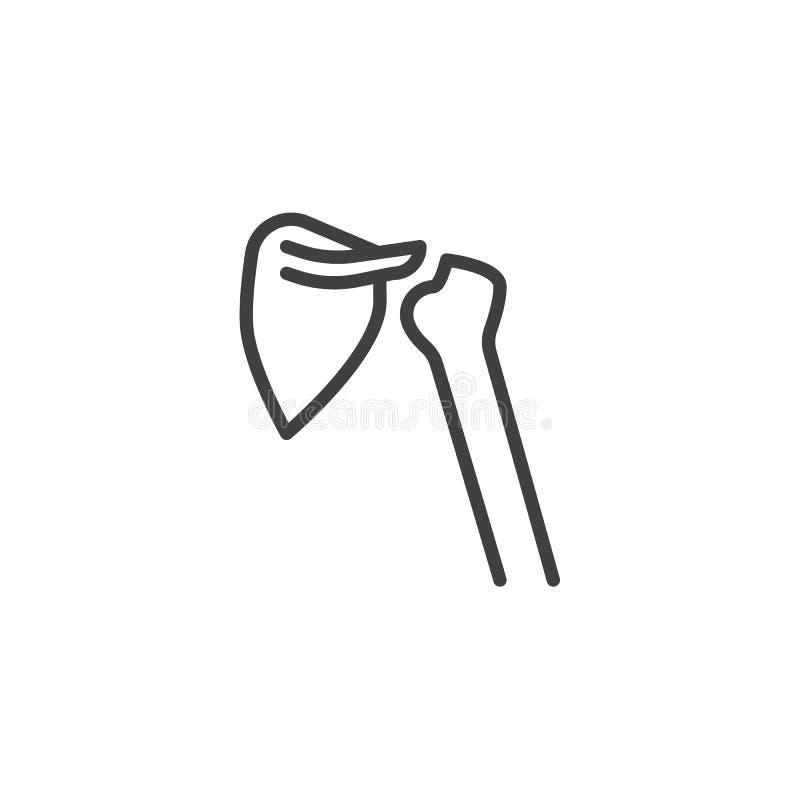 Shoulder joint line icon. Linear style sign for mobile concept and web design. Shoulder bones outline vector icon. Symbol, logo illustration. Vector graphics royalty free illustration