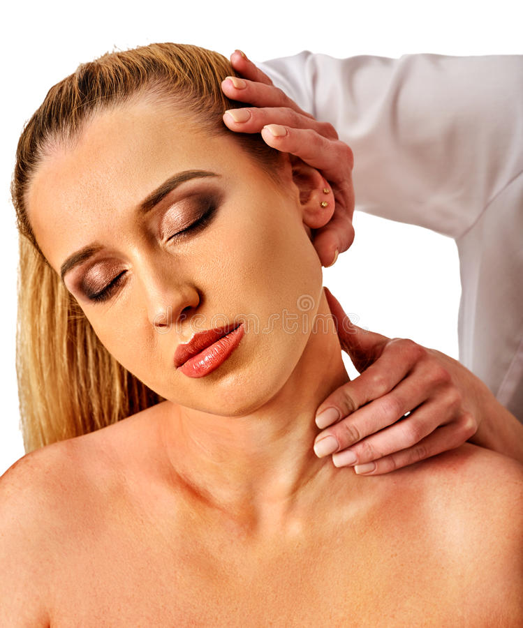 Shoulder and neck massage for woman in spa salon. Doctor making neck therapy in rehabilitation center on isolated. Skin rejuvenation royalty free stock photos