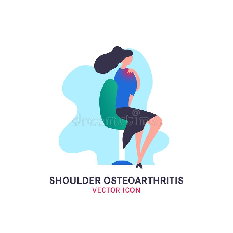 Shoulder osteoarthritis icon. In modern vanguard simplistic style. Spine bones injury. Broken bone sign. Vector illustration in bright violet, blue, pink vector illustration
