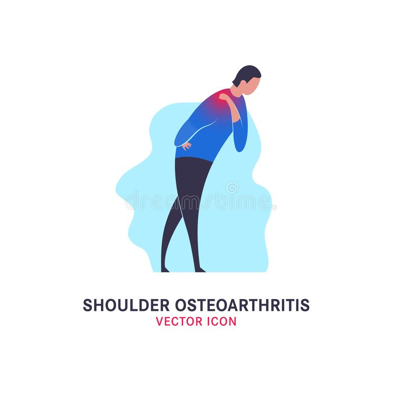 Shoulder osteoarthritis icon. In modern vanguard simplistic style. Spine bones injury. Broken bone sign. Vector illustration in bright violet, blue, pink royalty free illustration