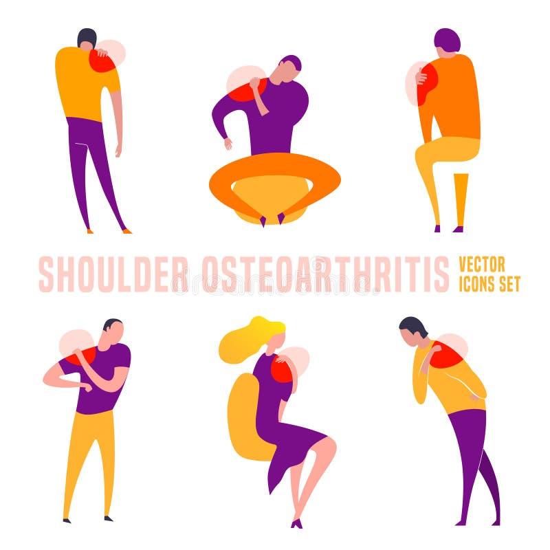Shoulder Osteoarthritis icons collection. Shoulder osteoarthritis icons in modern vanguard simplistic style. Hip bones injury. Broken bone sign. Vector royalty free illustration