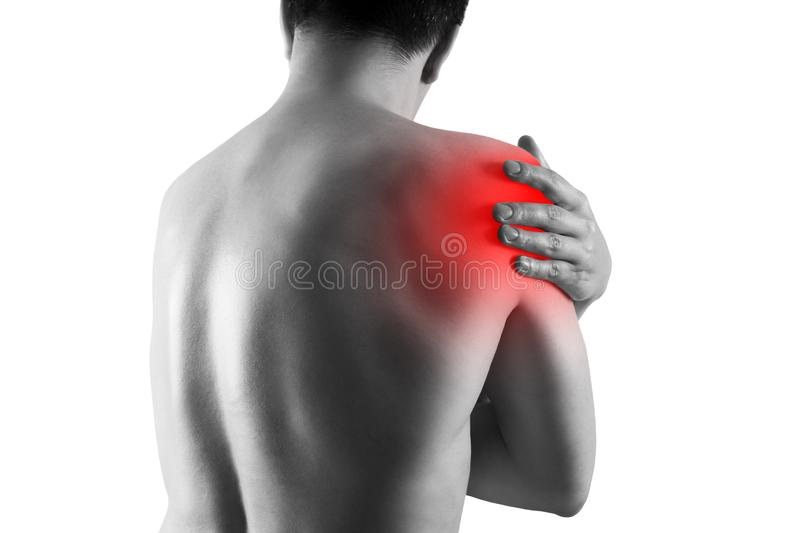 Shoulder pain, ache in a man`s body, sports injury concept, isolated on white background. Painful area highlighted in red stock photography